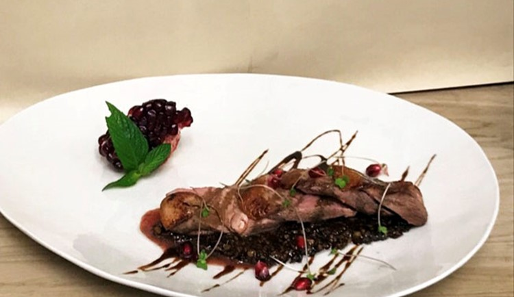 Lavangi, duck breast with pomegranate and walnut at Belgrave Iranian Restaurant and Bar in Abbey Road, London